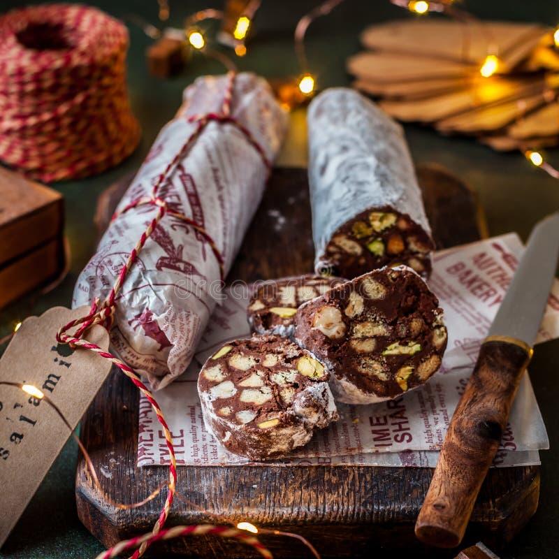 Salame del cioccolato di Natale fotografie stock libere da diritti