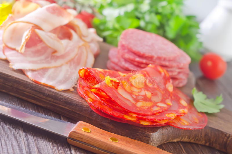 Salame e bacon fotografia stock