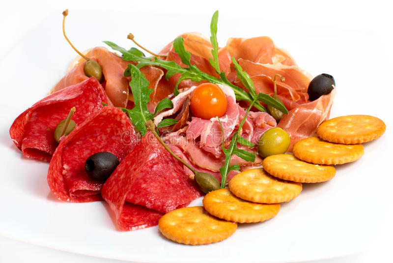 Salame, pancetta affumicata e carne affumicata fotografia stock