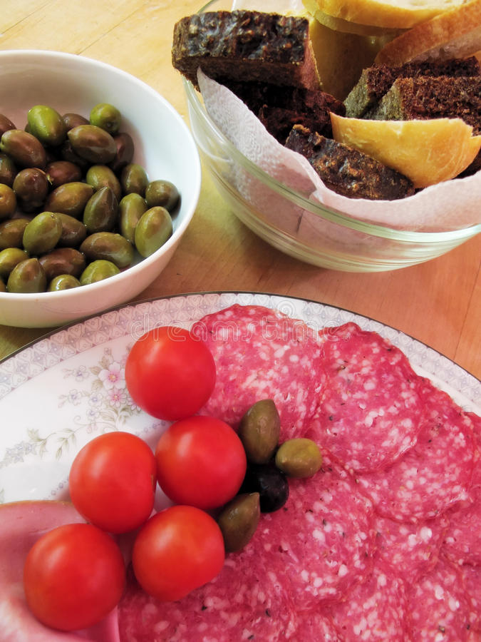 Download Salami stock image. Image of italy, bowl, olives, foodstuff - 18754065