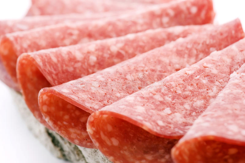 Salami Bread. As closeup isolated royalty free stock photography