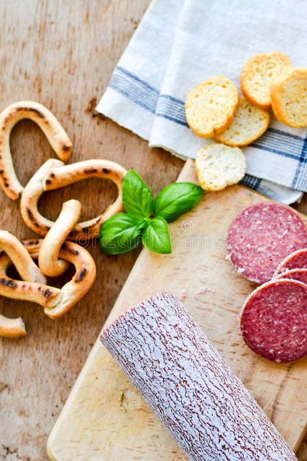 Salami and bread stock photos