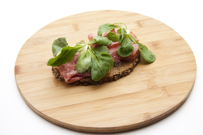 Download Salami On Bread With Corn Salad Stock Image - Image: 21391831