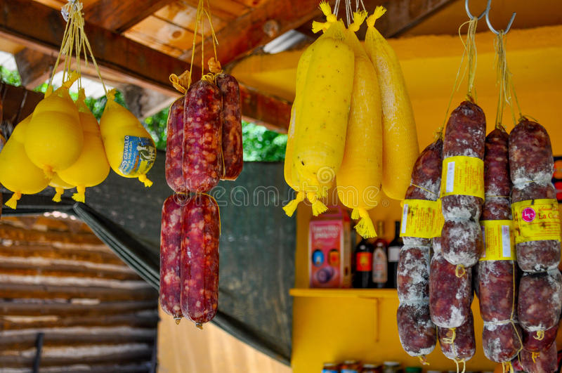 Salami and cheese store in mountains of Cordoba, Argentina royalty free stock image