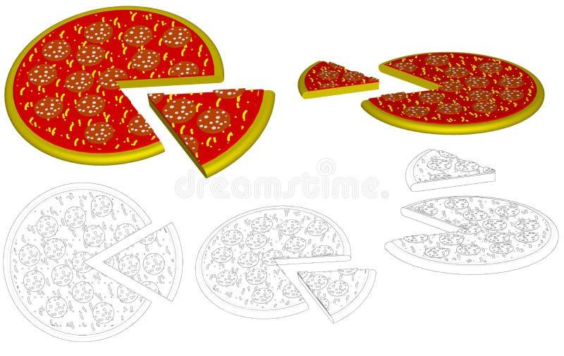 Salami de la pizza ilustración del vector