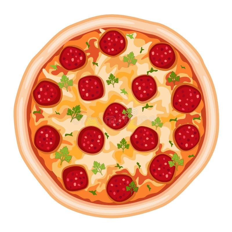 Salami de pizza illustration de vecteur
