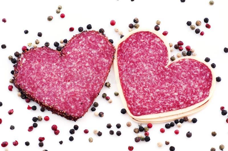 Salami del corazón imagen de archivo libre de regalías