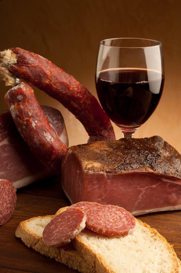 Salami do italiano da fatia imagens de stock royalty free
