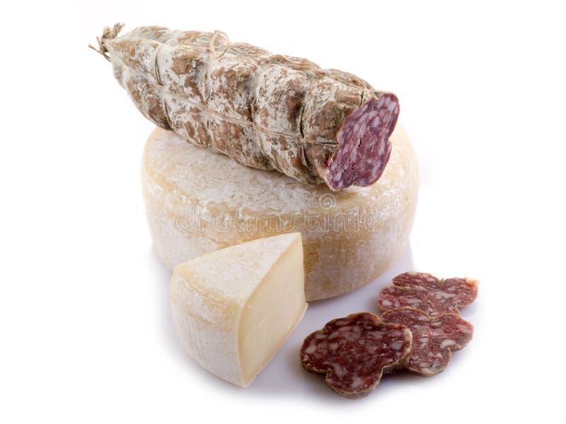 Salami e queijo italianos fotografia de stock