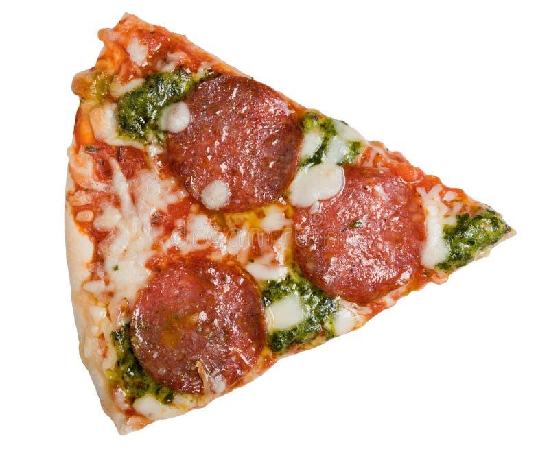 Salami et pesto figés de part de pizza image libre de droits