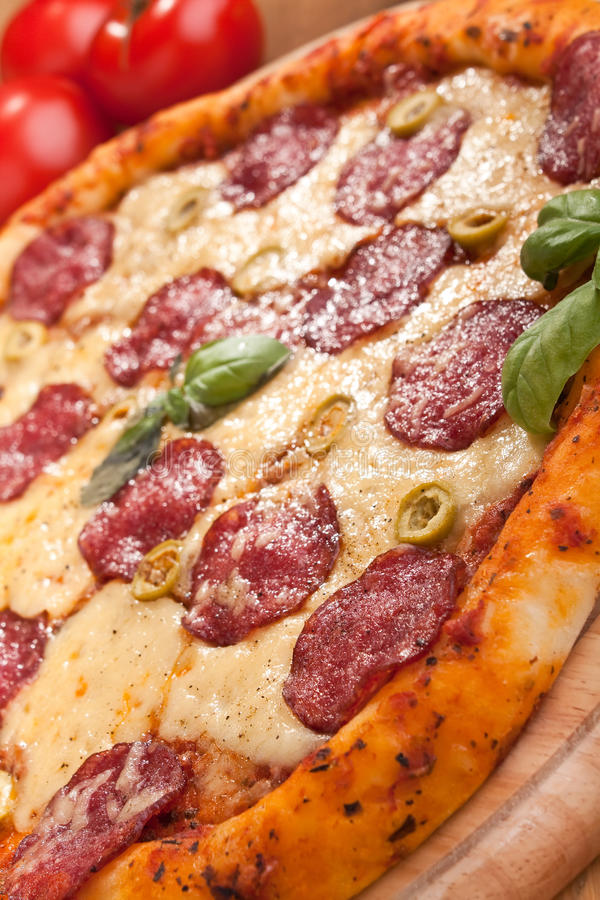 Salami and green olives pizza. Whole salami and green olives pizza with lots of cheese royalty free stock image