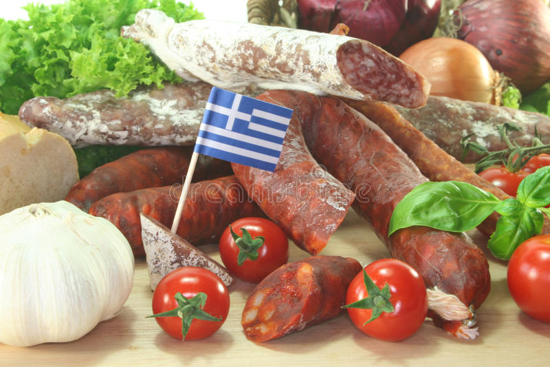 Salami griego fotos de archivo libres de regalías