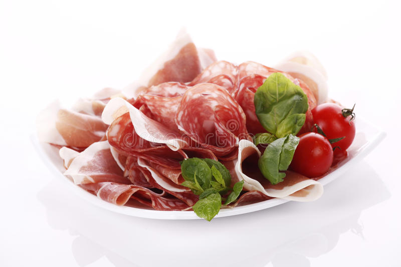 Salami and ham royalty free stock images