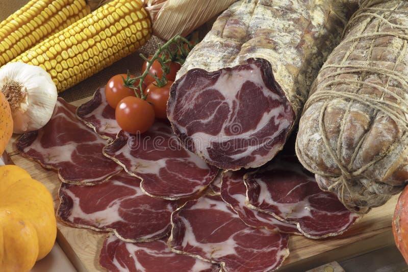 Salami italiano de Parma dos di do coppa foto de stock royalty free