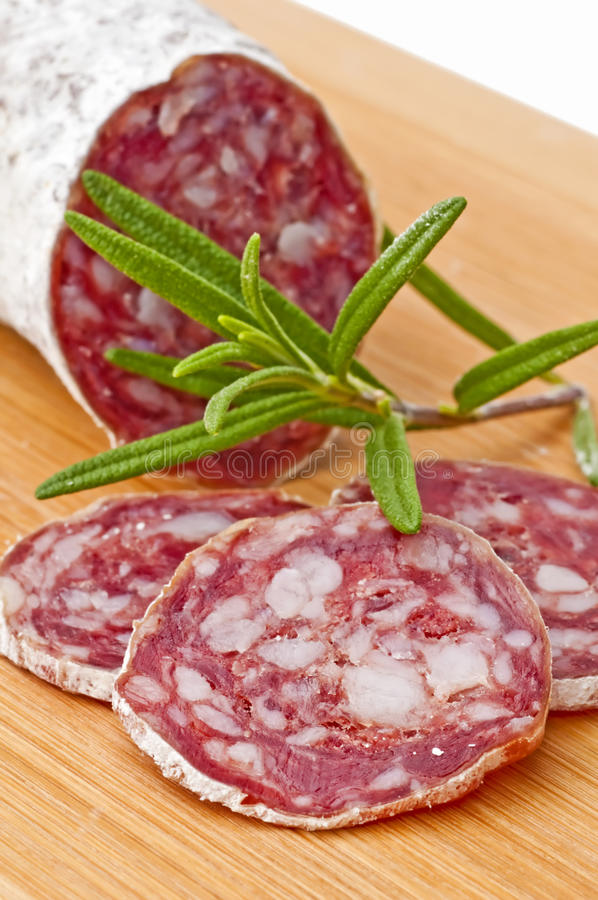 Closeup of French salami royalty free stock photography