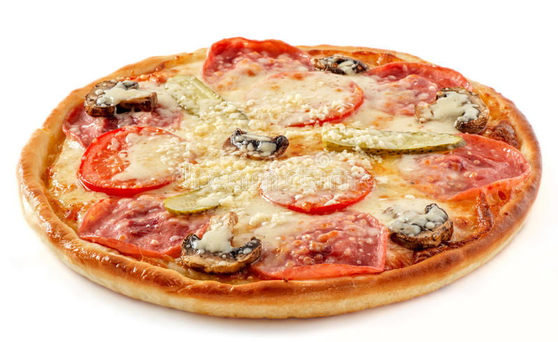 Salami and mushrooms pizza with pickles stock photography