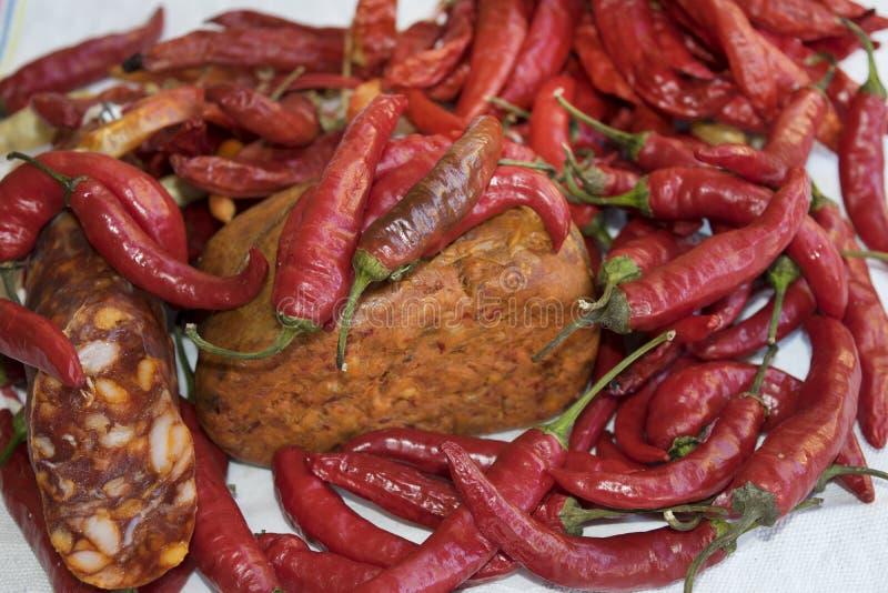 Salami och nduja för varma peppar arkivbild