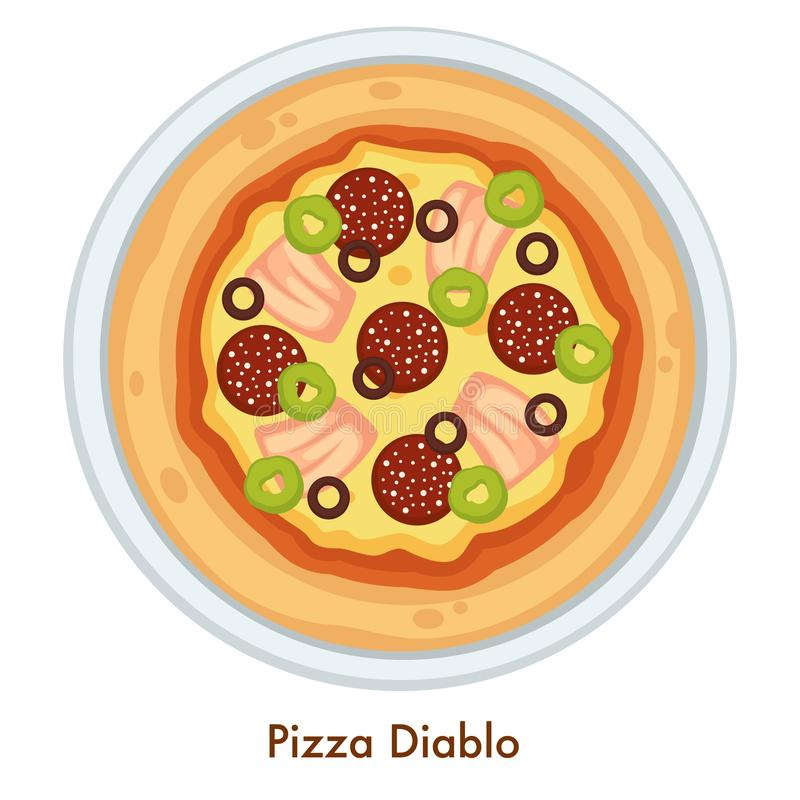 Salami och ost för maträtt för pizzaDiablo Italian mat stock illustrationer