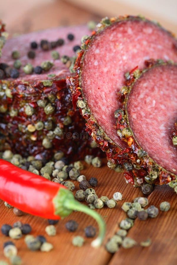 salami, pepper zdjęcie royalty free