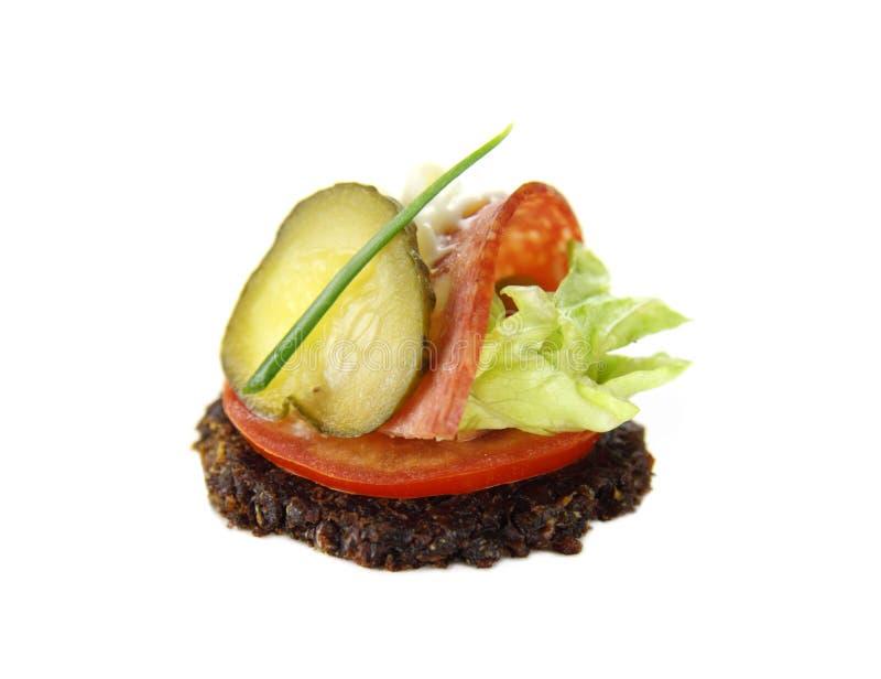Salami And Pickle Tidbit Royalty Free Stock Photo