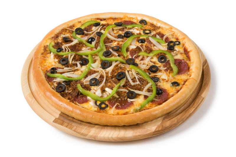 Salami pizza with olives peppers and vegetables stock photography