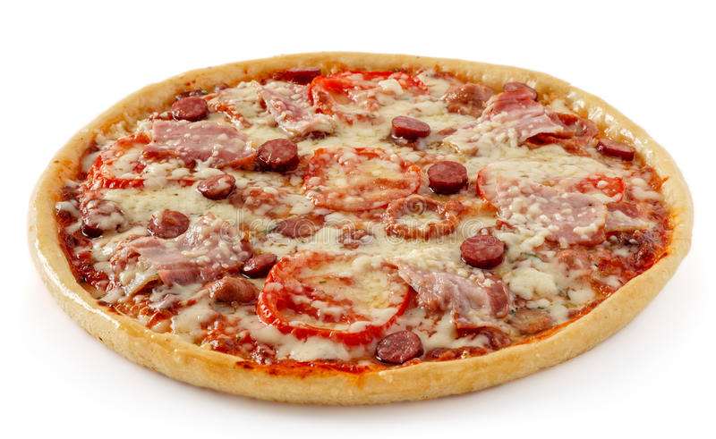 Salami pizza with tomatoes stock image