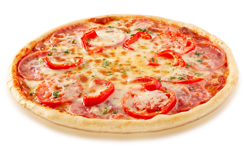 Salami pizza with tomatoes and red pepper stock photo