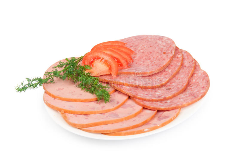 Salami On A Plate With Fennel Stock Images