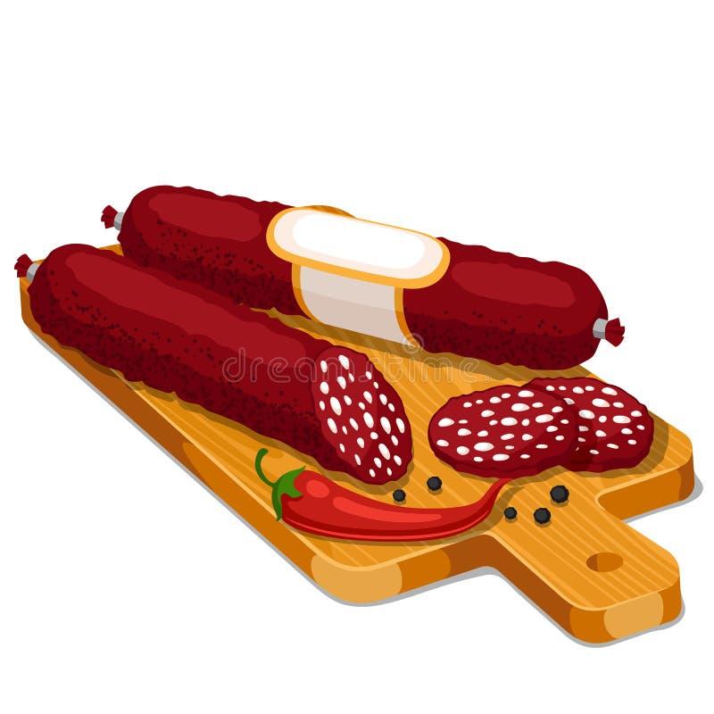 Salami rökte korvskivor med chili och peppar på träskärbräda stock illustrationer