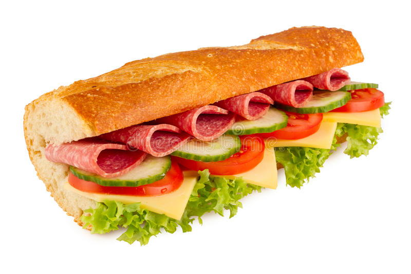 Salami sandwich. On white background royalty free stock photos