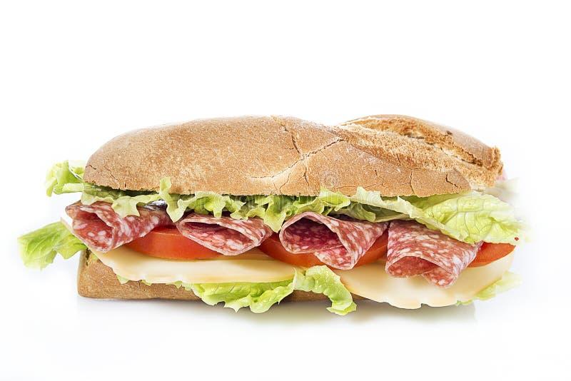 Salami sandwich. On white background stock photo