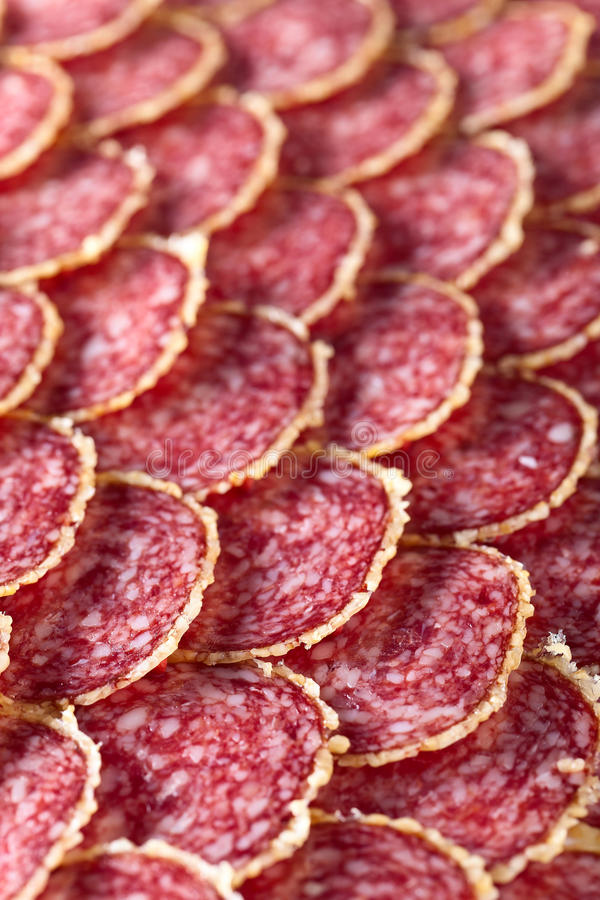 Salami sausage slices royalty free stock photography