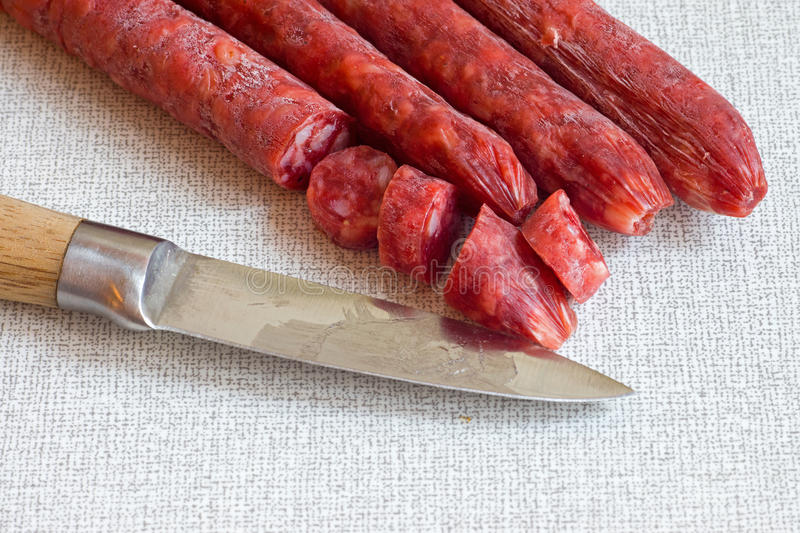 Download Salami With A Sharp Knife Stock Images - Image: 22709814