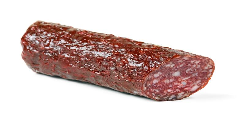 Salami smoked sausage stick isolated royalty free stock images