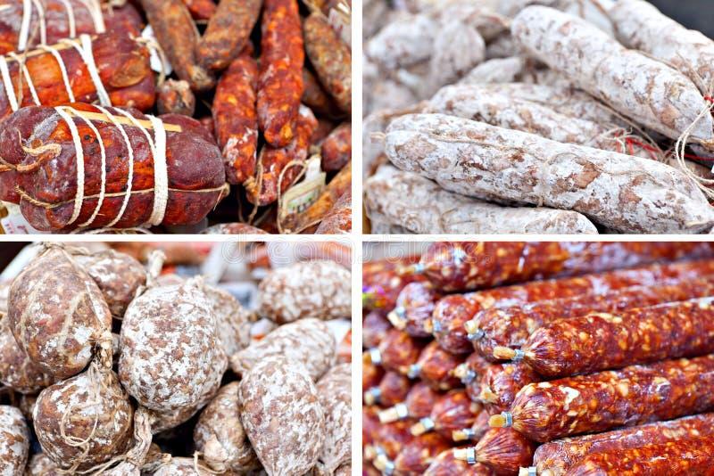 Salami tradicional en el mercado italiano imagen de archivo