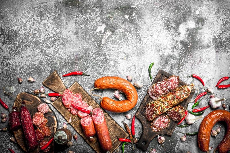 Salamibakgrund Olika sorter av salami med kryddor royaltyfria bilder