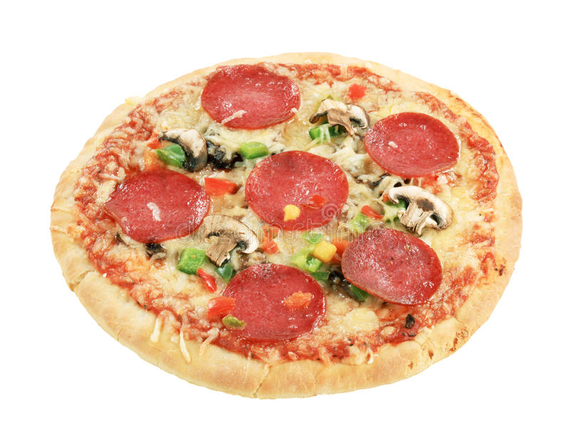 Salamipizza lizenzfreie stockbilder