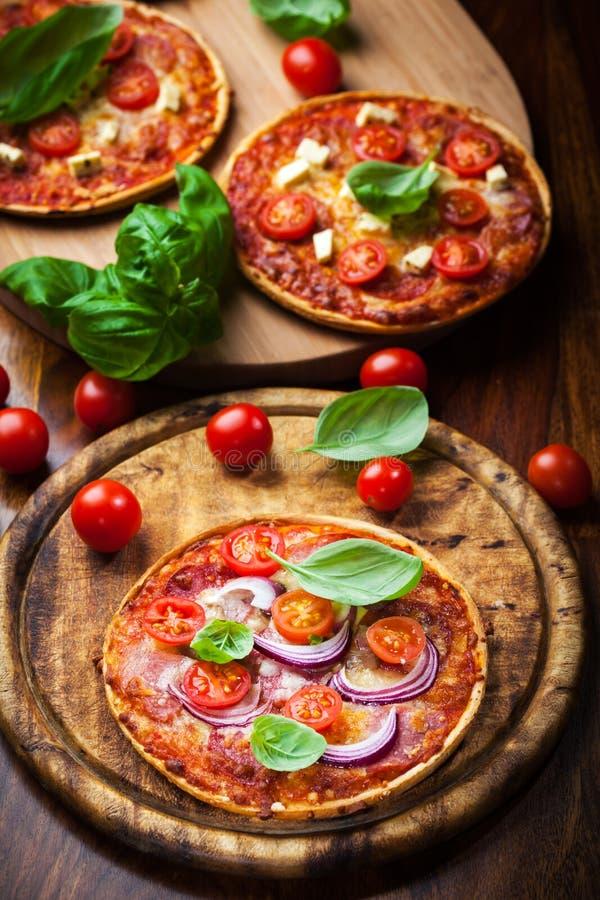 Salamipizza stockbild