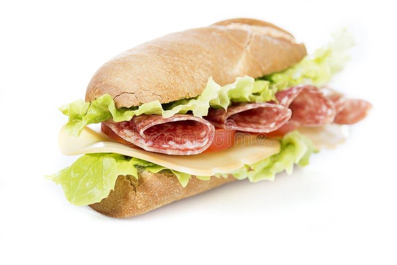 Salamisandwich royalty-vrije stock foto's