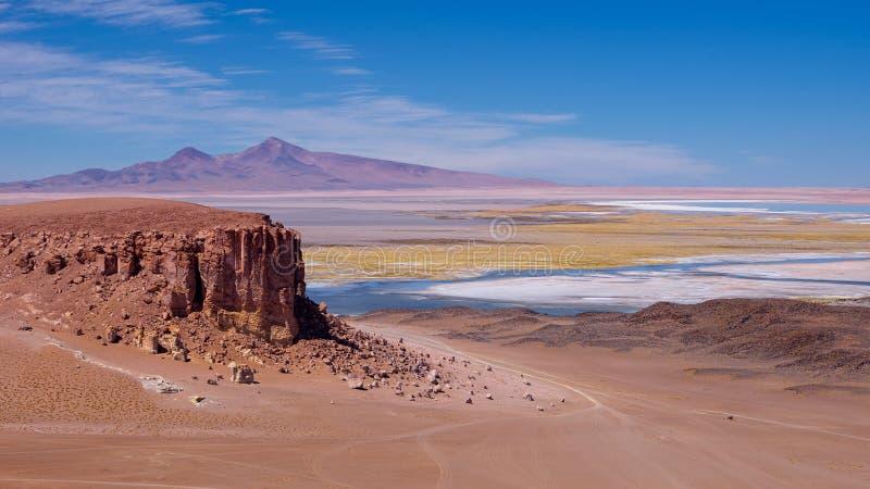 Salar bij Los Flamenco's Nationale Reserve, dichtbij San Pedro de Atacama, Chili stock afbeeldingen