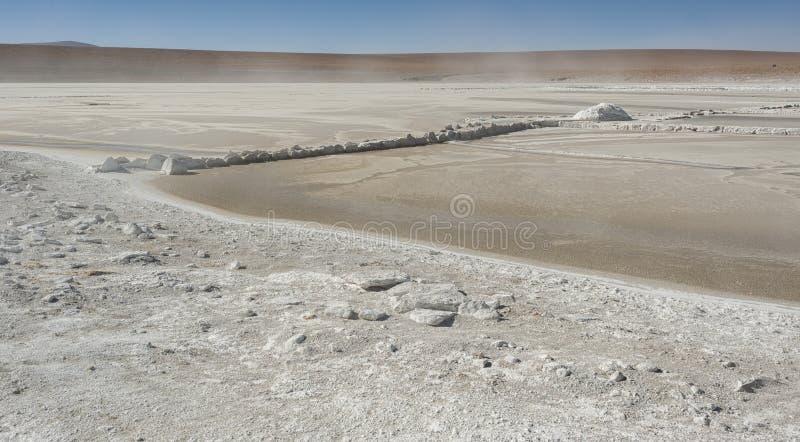 Salar de Chalviri, also known as Salar de Ohalviri, is a salt flat in the heart of Eduardo Avaroa Andean Fauna National Reserve. In the Potosí Department royalty free stock images