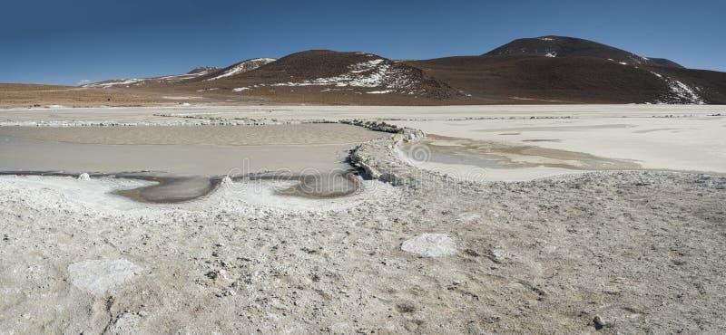 Salar de Chalviri, also known as Salar de Ohalviri, is a salt flat in the heart of Eduardo Avaroa Andean Fauna National Reserve. In the Potosí Department royalty free stock photography