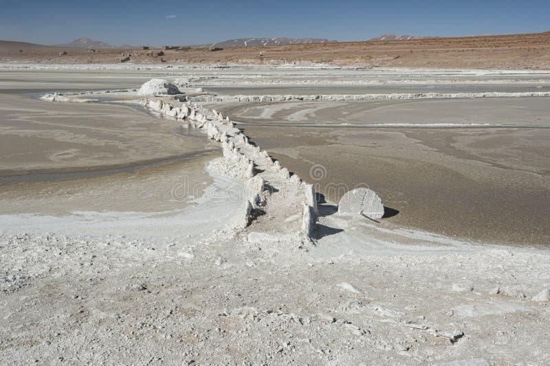 Salar de Chalviri, also known as Salar de Ohalviri, is a salt flat in the heart of Eduardo Avaroa Andean Fauna National Reserve. In the Potosí Department royalty free stock photos