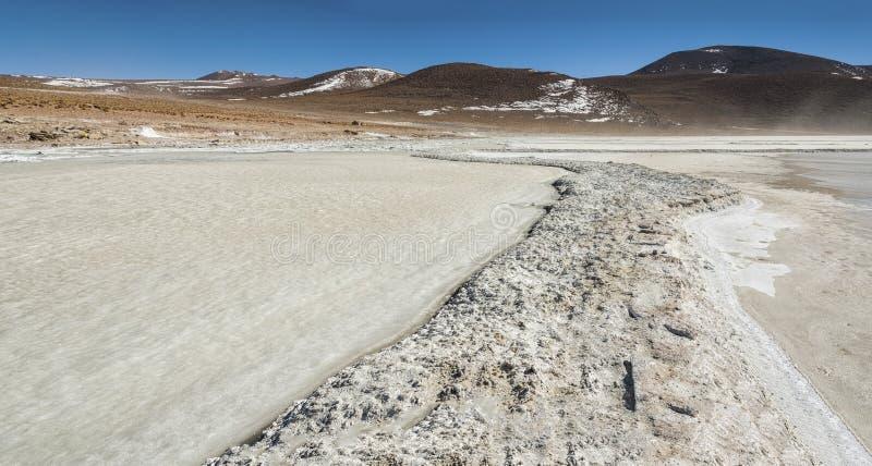 Salar de Chalviri, also known as Salar de Ohalviri, is a salt flat in the heart of Eduardo Avaroa Andean Fauna National Reserve. In the Potosí Department royalty free stock photo