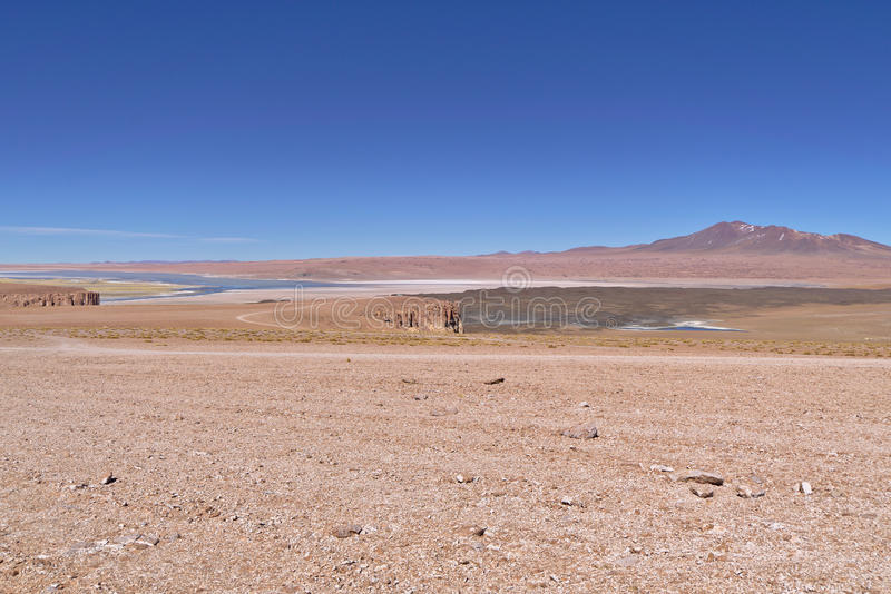 Salar de Tara. Seen from a higher distant viewpoint royalty free stock image