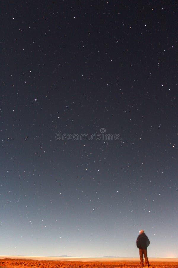 Salar de Uyuni b. The world`s largest salt flat, Salar de Uyuni in Bolivia by night showing the milky way stars royalty free stock images