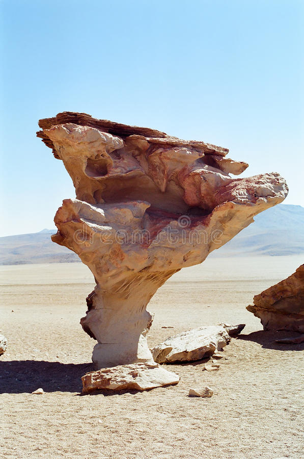 Salar de Uyuni, Bolivia. Arbol de piedra, the mushroom shaped rock in Salar de Uyuni desert, Bolivia stock photo