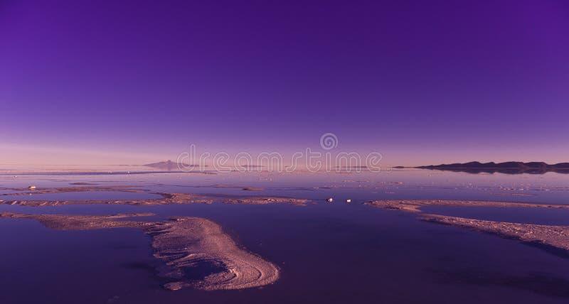 Salar de Uyuni. In Bolivia, sunrise royalty free stock photos
