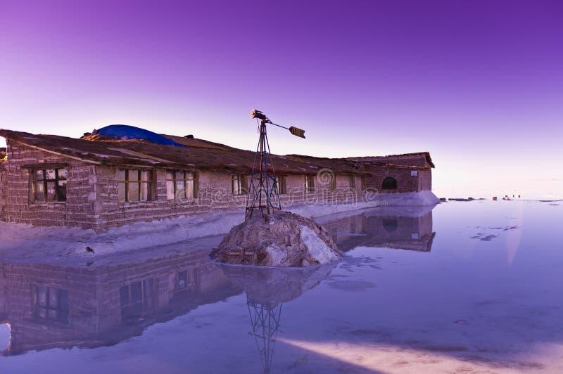 Salar de Uyuni. In Bolivia, sunrise, hotel made of salt stock image