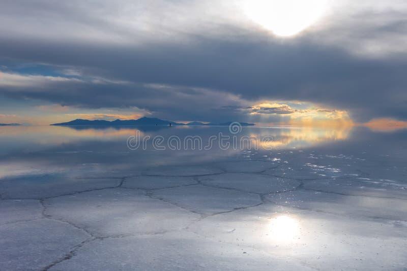 Salar de Uyuni desert, Bolivia. Sunset in Salar de Uyuni salt flats desert, Andes Altiplano, Bolivia stock image